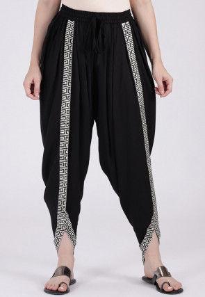 Contrast Border Viscose Cotton Dhoti Pant in Black