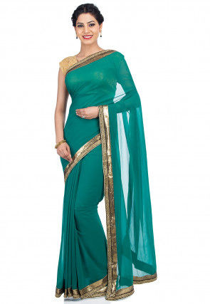 Contrast Border Viscose Georgette Saree in Teal Green