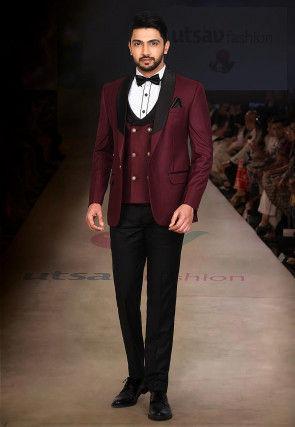 Contrast Collar Polyester Three piece Tuxedo Set in Maroon