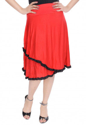 Contrast Frill Cotton Lycra Skirt in Coral Red