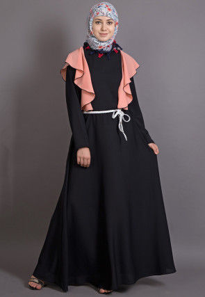 Contrast Frilled Nida Frilled Abaya in Black and Peach