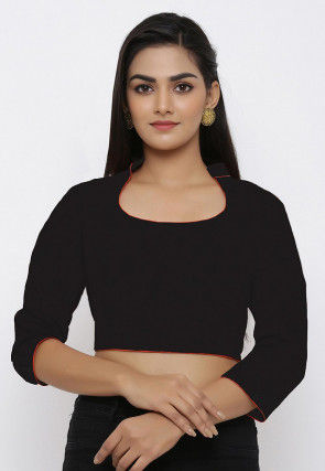 Contrast Piping Cotton Blouse in Black