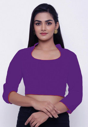 Contrast Piping Cotton Blouse in Purple