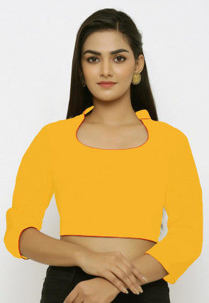 Contrast Piping Cotton Blouse in Yellow