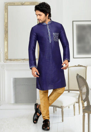 Contrast Placket Art Silk Kurta Set in Navy Blue
