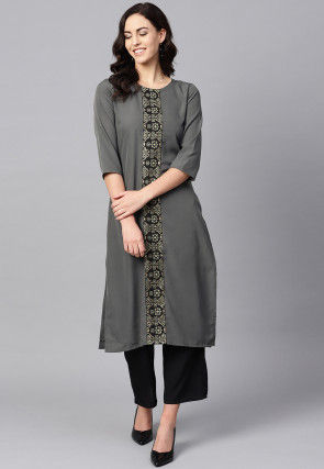 Contrast Placket Crepe Straight Kurta in Grey