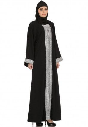 Contrast Placket Nida Front Open Abaya in Black