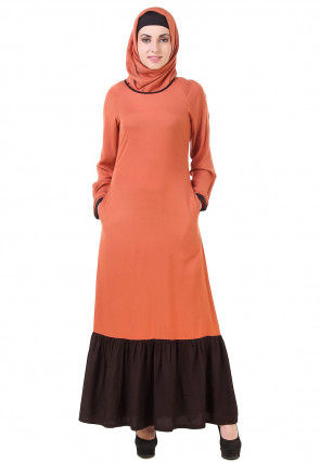 Contrast Ruffle Viscose Rayon Abaya in Orange