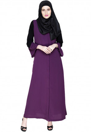 Contrast Sleeve Nida Front Open Abaya in Purple and Black