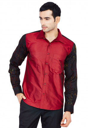 Contrast Sleeve Raw Silk Shirt in Maroon and Black