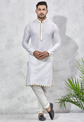 Contrast Trim Art Silk Kurta Set in Off White