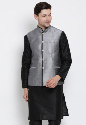 Contrast Trim Art Silk Nehru Jacket in Grey