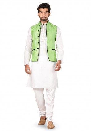 Contrast Trim Art Silk Nehru Jacket in Light Green