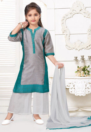 Contrast Trim Art Silk Pakistani Suit in Grey and Teal Blue