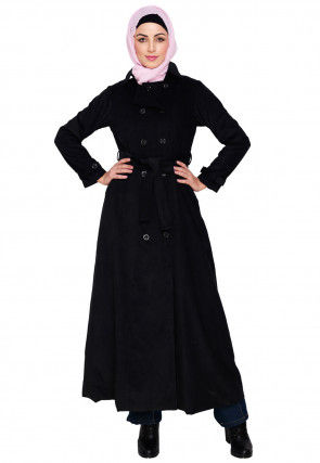Contrast Trim Corduroy Front Open Abaya in Black