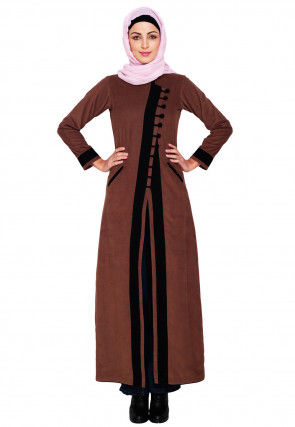 Contrast Trim Corduroy Front Open Abaya in Brown
