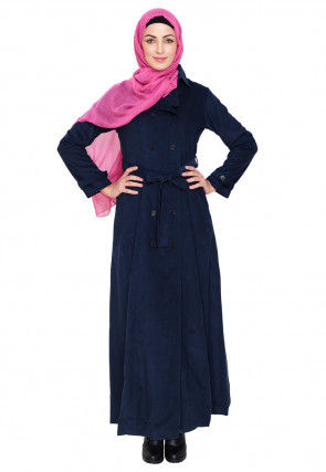 Contrast Trim Corduroy Front Open Abaya in Dark Blue
