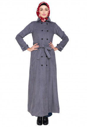 Contrast Trim Corduroy Front Open Abaya in Grey
