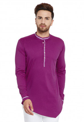 Contrast Trim Cotton Asymmetric Short Kurta in Purple