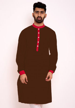 Contrast Trim Cotton Kurta in Dark Brown