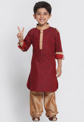 Contrast Trim Cotton Paithani Suit in Maroon