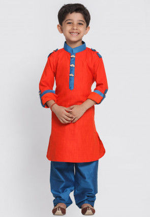 Contrast Trim Cotton Paithani Suit in Red