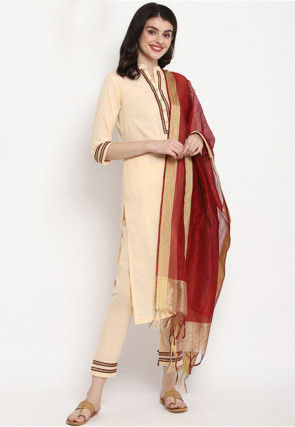 Contrast Trim Cotton Pakistani Suit in Light Beige