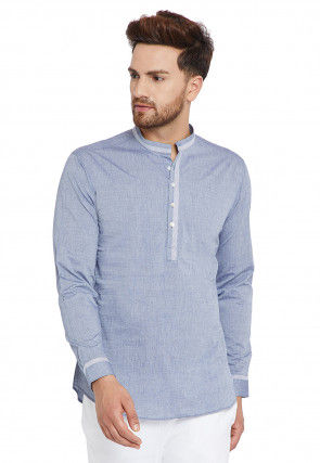 Contrast Trim Cotton Short Kurta in Light Blue