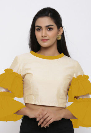 Contrast Trim Cotton Silk Blouse in Light Beige and Mustard