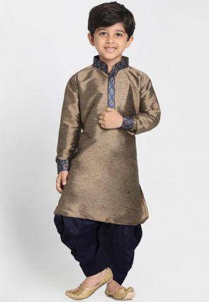 Contrast Trim Cotton Silk Dhoti Kurta in Antique