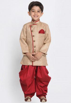 Contrast Trim Cotton Silk Dhoti Sherwani in Beige