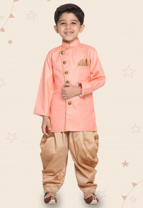 Contrast Trim Cotton Silk Dhoti Sherwani in Peach