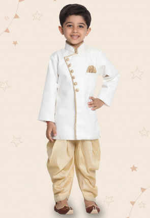 Contrast Trim Cotton Silk Dhoti Sherwani in White