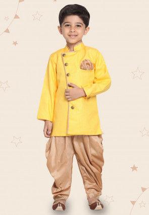 Contrast Trim Cotton Silk Dhoti Sherwani in Yellow