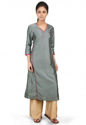 Contrast Trim Cotton Silk Straight Kurta Set in Grey