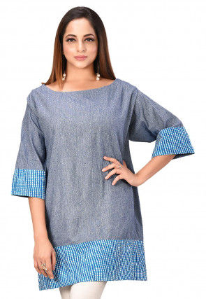 Contrast Trim Cotton Tunic in Dusty Blue