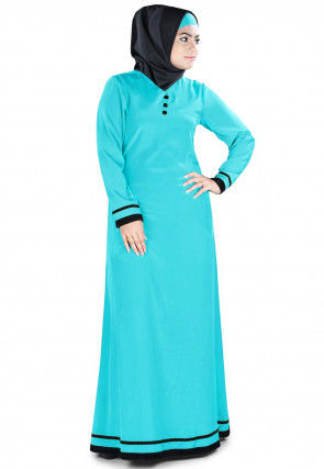 Contrast Trim Crepe Abaya in Turquoise