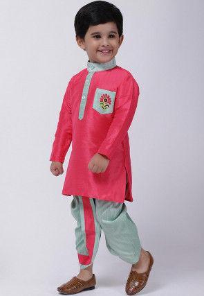Contrast Trim Dupion Silk Dhoti Kurta in Pink