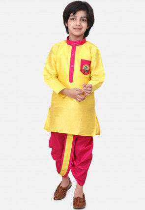Contrast Trim Dupion Silk Dhoti Kurta in Yellow