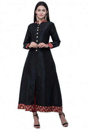Contrast Trim Dupion Silk Front Slit Kurta in Black