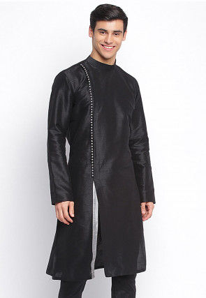 Contrast Trim Dupion Silk Kurta in Black