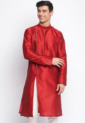 Contrast Trim Dupion Silk Kurta in Red