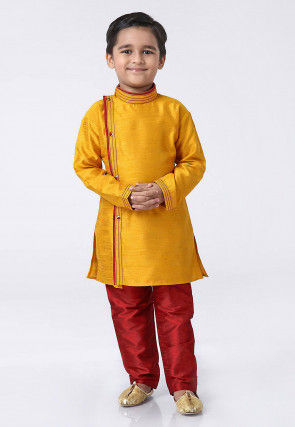 Contrast Trim Dupion Silk Kurta Set in Mustard