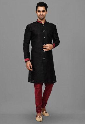 Contrast Trim Dupion Silk Sherwani in Black