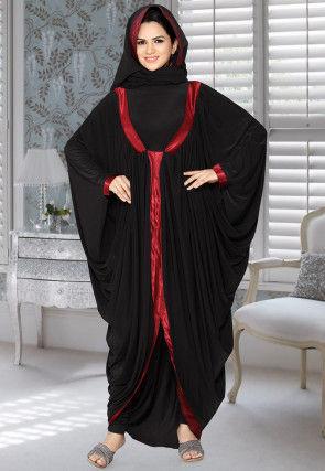 Contrast Trim Lycra Black Abaya