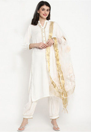 Contrast Trim Rayon Punjabi Suit in Off White