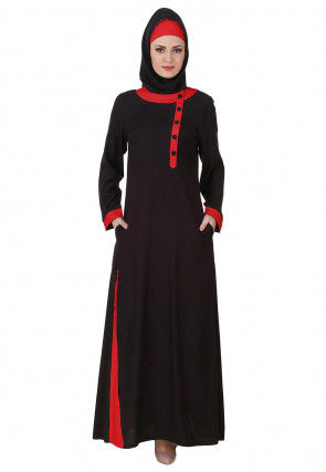 Contrast Trim Viscose Rayon Abaya in Black