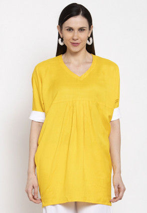 Contrast Trim Viscose Rayon Top in Yellow