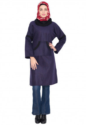 Contrast Trim Woolen Tunic in Purple