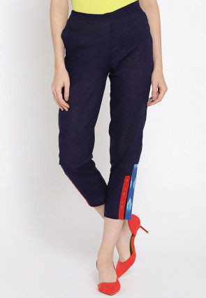 Contrast Trimmed Cotton Trouser in Navy Blue